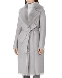 Reiss Lennox Shearling Wrap Coat Gray