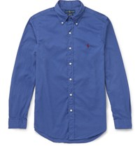 Polo Ralph Lauren Slim Fit Button Down Collar Washed Cotton Shirt Blue