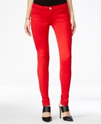 Celebrity Pink Juniors' Jayden Skinny Jeans Colored Wash Tango Red