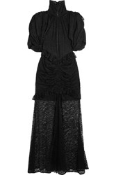 Alessandra Rich Ruched Lace Gown Black