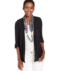 Ny Collection Petite Layered Cardigan And Beaded Scarf Black