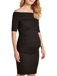 Isabella Oliver Ruched Clifton Bardot Dress Black