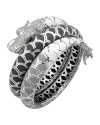 Naga Enamel Ombre Coil Bracelet With Pave White Sapphires John Hardy Silver