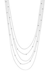 Italian Sterling Silver 5 Row Anchor And Bead Layered Necklace Metallic