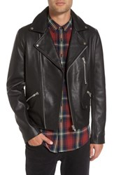 Topman Men's Staines Leather Moto Jacket Black