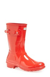 Women's Hunter 'Original Short' Gloss Rain Boot Pillar Box Red Gloss