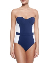 Tory Burch Lipsi Two Tone One Piece Swimsuit Navy Ivory