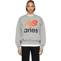 Aries Grey New Balance Edition Logo Sweatshirt