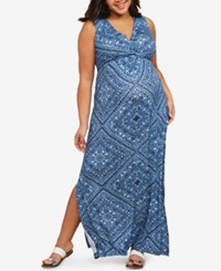 Motherhood Maternity Plus Size Maxi Dress Blue Print
