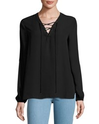 Max Studio Lace Up Solid Blouse Black