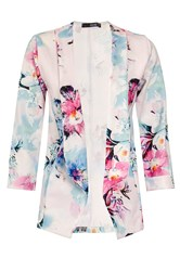 Quiz Cream Flower Print Jacket