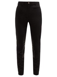 Burberry Lambskin Panel Stretch Crepe Trousers Black