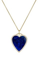 Jennifer Meyer Women's White Diamond And Lapis Lazuli Heart Pendant Neck Colorless