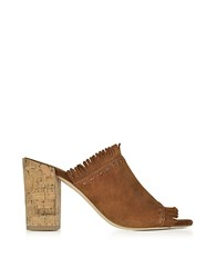 Tory Burch Huntington Festival Brown Suede High Heel Mules W Fringes