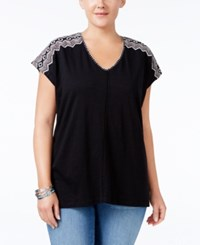 Styleandco. Style Co. Plus Size Dolman Sleeve Embroidered Top Only At Macy's Chevron Emblem Black