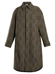 Balenciaga Reflective Detail Checked Wool Coat Beige Multi