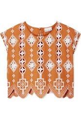 Miguelina Deva Cropped Broderie Anglaise Trimmed Cotton Top Orange Gbp