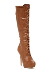 Nature Breeze Amber Lace Up Stiletto Boot Brown
