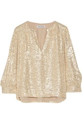 Elizabeth And James Shelley Metallic Fil Coupe Silk Blend Blouse Beige