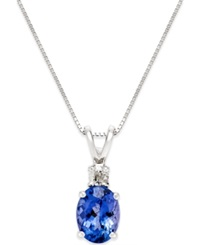 Macy's Tanzanite 1 2 5 Ct. T.W. And Diamond Accent Pendant Necklace In 14K White Gold