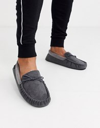 Totes Moccasin Slipper In Grey
