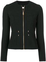 Versace Collection Short Fitted Jacket Cotton Polyester Spandex Elastane Viscose Black