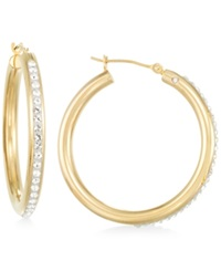 Signature Gold Crystal Hoop Earrings In 14K Gold Yellow Gold