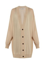 Jil Sander Long Line Wool Cardigan Light Beige