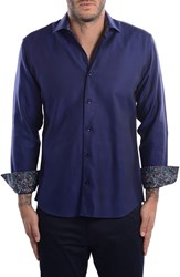 Bertigo Men's White Arrow Dobby Modern Fit Sport Shirt Navy Blue