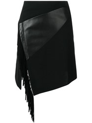 Barbara Bui Side Fringe Fitted Skirt Black