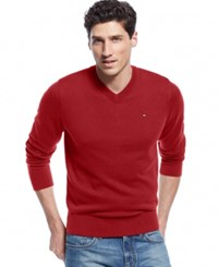 Tommy Hilfiger Big And Tall Signature Solid V Neck Sweater Chili Pepper