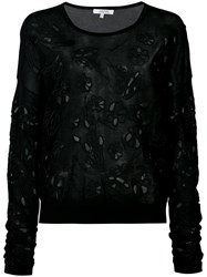 Dorothee Schumacher Cut Out Floral Embroidered Jumper Black