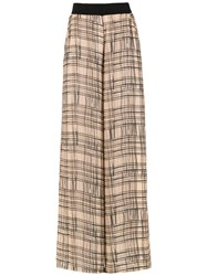 Mara Mac Wide Leg Printed Trousers Brown