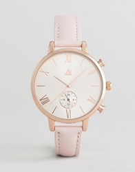 Asos Rose Gold And Blush Leather Watch Pink