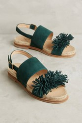 Anthropologie Kmb Fringe Slingback Sandals Green