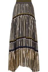 Peter Pilotto Silk Blend Trimmed Metallic Chiffon Maxi Skirt Gold