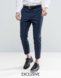 Heart And Dagger Skinny Tapered Smart Trousers In Tweed Navy