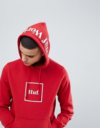 Huf Box Logo Hoodie With Hood Print In Red