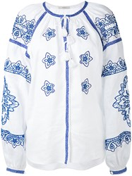 Vita Kin Embroidered Blouse Women Linen Flax S White
