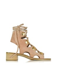 See By Chloe Chlo Powder Pink Suede Lace Up Flat Sandal Shoe