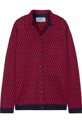 Prada Intarsia Wool Shirt Red