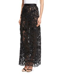 Johanna Ortiz Cana Lace High Waist Maxi Skirt Black