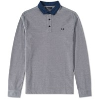 Fred Perry Long Sleeve Oxford Collar Trim Polo Grey