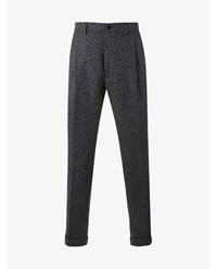 Etro Wool Blend Herringbone Tapered Trousers Navy Multi Coloured Raspberry White