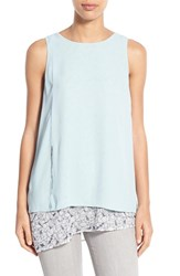 Women's Halogen Sleeveless Double Layer Asymmetrical Blouse Ivory Blue Lace Colorblock