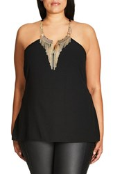 City Chic Plus Size Women's Sexy Metal Embellished Halter Top