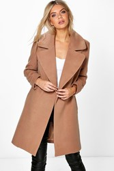 Boohoo Oversized Collar Wool Look Coat Camel