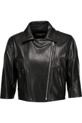 Michael Kors Collection Cropped Leather Jacket Black