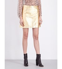 Theory Taraz Leather Skirt Burgundy Gold