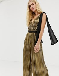 Moon River Metallic Wide Leg Jumpsuit With Bow Shoulders Gold